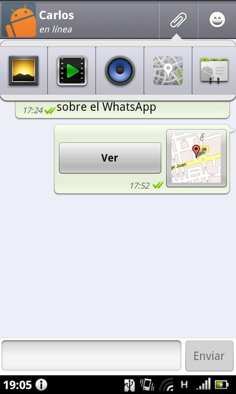 WhatsApp screen
